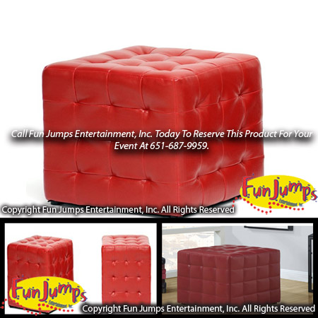 Red Lounge Cube Ottoman Rental, MN Twin Cities Lounge Furniture, Party  Event Rentals Minneapolis